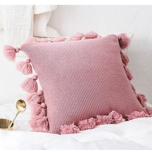 Tassel Pillow Case, Pink Pillow Cover with tassel